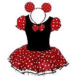 Dressy Daisy Baby-Girls' Polka Dots Halloween Christmas Fancy Dress Dance Costume w/Headband Size 12-24 Months Red & Black
