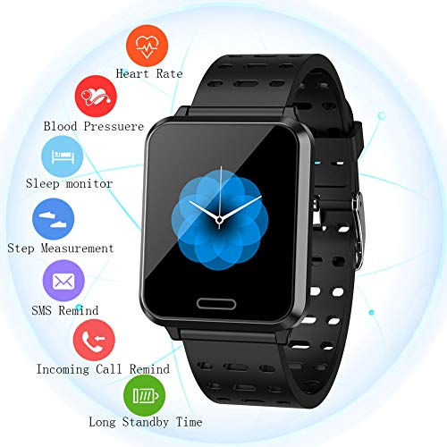 Smart Watch for Android & iOS with Heart Rate, Blood Pressure Monitor, Notification Reminder, Color Touch Screen Fitness Tracker with Sleep & Activity TrackerSmart Watch for Men Women
