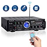 Sunbuck Wireless Karaoke Bluetooth Power Amplifier System - 600W 2 Channel Sound Stereo Audio Speaker Receiver w/USB, SD, FM Radio, 2 Mics in Control for Home Theater with Remote Control (TAV-339BT)