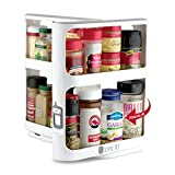 Cabinet Caddy (White)- Modular Rotating Spice Rack Organizer, Two 2-Tiered Shelves, Non-Skid Base - Stores Prescriptions, Hardware, Essential Oils, Crafts & More (10.75' H x 5.25' W x 10.75' D)