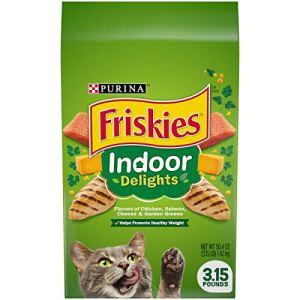 Purina Friskies Indoor Dry Cat Food, Indoor Delights – (4) 3.15 lb. Bags