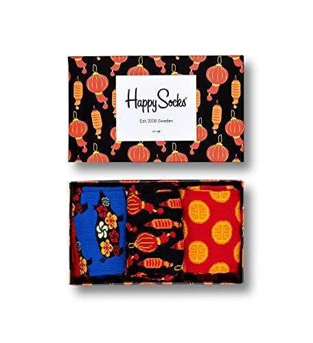 Happy Socks fTM - Calzini nuovo anno cinese da uomo e donna, in confezione regalo colorata, 36-40