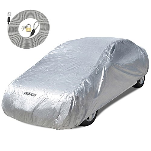 Motor Trend All Season WeatherWear 1-Poly Layer Snow proof, Water Resistant Car Cover Size L - Fits up to 190' - CC-543+LOCK