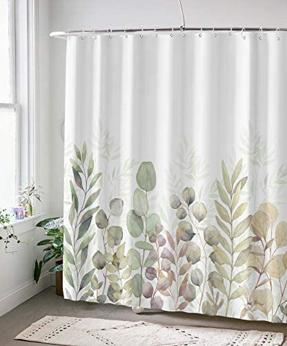 AMM Green and White Shower Curtain, Fabric Shower Curtains