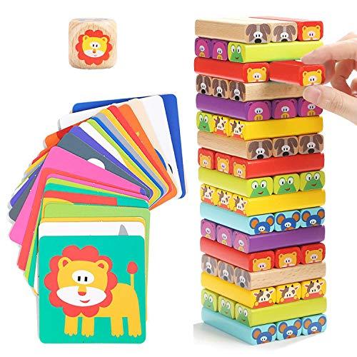 Nene Toys - Torre Magica Colorata in Legno con Animali Gioco Educativo da Tavolo per Bambini - Gioco Didattico 4 in 1 per Bambini da 3 a 9 anni Giocattolo Ideale come Regalo per Genitori e Figli
