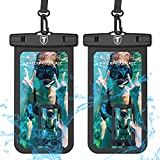 Universal Waterproof Case, 2-Pack Tekcoo IPX8 Phone Black Pouch Dry Bag Compatible iPhone 11 Pro Max/Xs Max/XR/X/SE 2020, Galaxy Note 20/S20 Ultra/S20+/A71/A11/A21/A51/A01, LG K51 K31 V60 & Up to 6.9'