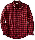 Amazon Essentials Chemise en Flanelle à Manches Longues et Coupe régulière. Button-Down-Shirts, Red (Red Buffalo Plaid), Medium
