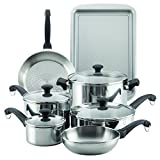 Farberware 70217 Classic Traditional Stainless Steel Cookware Pots and Pans Set, 12 Piece