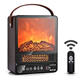 COSTWAY Portable Electric Fireplace, 750W/1500W Mini Electric Heater with 50℉ to 90℉, 12H Timer, Remote Control, 4 Flame Brightness, Tabletop Fireplace Heater for Home Office Indoor Use, Walnut