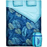 Chillbo Double Sleeping Bag for Adults - Chillbo Queen Sleeping Bag for Backpacking, Camping, Hiking & Music Festivals Cool Patterns Queen Size XL 2 Person Sleeping Bags for Adults (Blue Leaf)