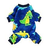 Fitwarm Dinosaur Pet Clothes for Dog Pajamas Coat Cat PJS Jumpsuit Soft Velvet Blue Medium