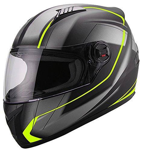 Integralhelm Helm Motorradhelm RALLOX 708 neon gelb grün schwarz matt S M L XL Größe S