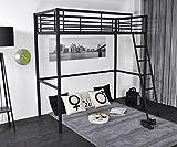 FURNISH 1 lit Mezzanine Enfant avec sommier Industriel en métal Noir...