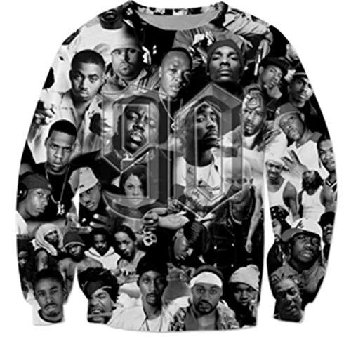 None/Brand Otoño/Invierno Sudadera con Capucha para Hombre 90s Rapper 2pac Tupac Estampado 3D Sudadera con Capucha Unisex Casual Hip Hop con Capucha