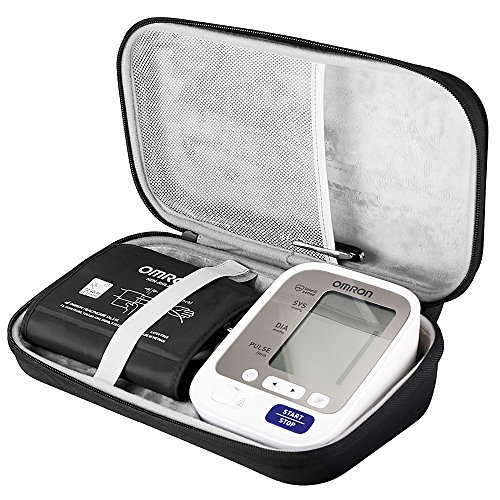 BOVKE EVA Hard Travel Carrying Case for Omron BP742N 5 Series Upper Arm Blood Pressure Monitor with Cuff That fits Standard and Large Arms, Black