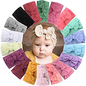 Package includes: 18 pieces Hair Bows Nylon Headbands,Perfect for every occasion and any wonderful season.Elegant unique designed Fantastic hair headbands for girls(Note:One color of the headband may not match the picture) Material: it is made of sof...