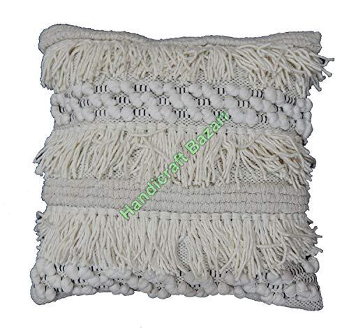 Handicraft Bazarr Nappe Frange in Cotone Shaggy Cuscino Quadrato 45,7 cm Federa per Cuscino da...