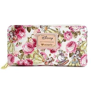 Loungefly Disney Beauty & The Beast Belle Mrs. Potts Pink Peony Floral Wallet