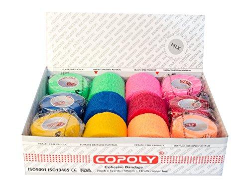 Copoly Rotoli di bende elastiche coesive da 5cm, bendaggio veterinario (mimetico, decorato, rosa,...