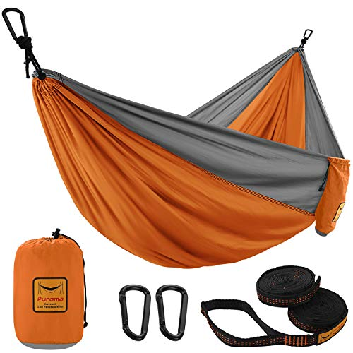 Puroma Camping Hammock Single & Double Portable Hammock Ultralight Nylon Parachute Hammocks with 2 Hanging Straps for Backpacking, Travel, Beach, Camping, Hiking (Orange & Grey, Large)