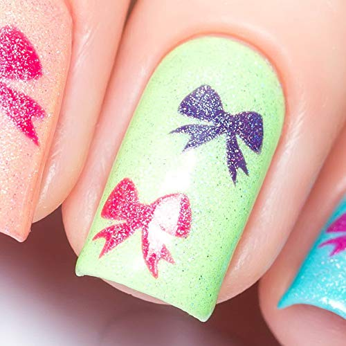 Whats Up Nails - Bow Vinyl Stencils for Christmas Nail Art Design (1 Sheet, 20 Stencils)