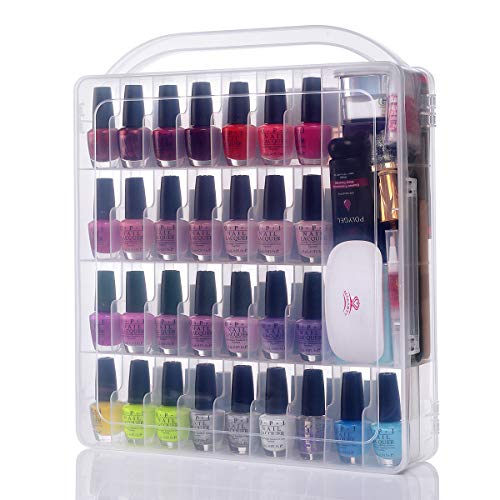 Makartt Large Gel Nail Polish Organizer Poly Nail Extension Gel Nail Tools Holder for 60 bottles- with Large Separate Compartment for Manicure Tools See-through Universal Nail Polish Case N-03