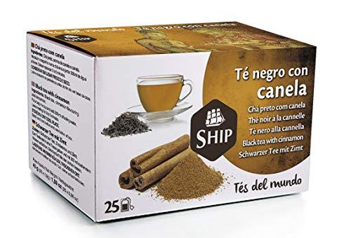 Ship - Té Negro con Canela en Caja de 25 Unidades - Propiedades Antioxidantes - Ayuda a Activar la Mente - Aporta Vitaminas y Minerales - Sabor Dulce - Sin Cafeína