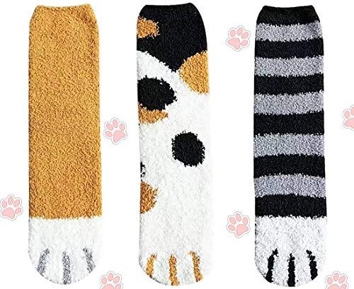 CheChury 3 Paia Calze Gatto Invernali Donna Calzini in Cotone Divertenti morbidi Calzini Pile di Corallo Artigli Calzini da Pavimento Cald Simpatici Regali