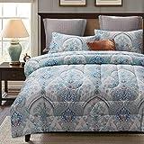 ATsense Paisley Comforter Set Queen, All Season 3-Piece 100% Cotton Fabric, Soft Microfiber Filled Bedding, Lightweight Reversible Duvet Insert (Lake Blue&White, HLLQ)