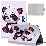 7.0 Inch Universal Tablet Case - Dteck Slim Protective Leather Wallet Pretty Flip Cover Case with Card Slots for Samsung Tab 7' /LG G Pad 7.0/ RCA Voyager 7' /Android 7/ Fire 7 Tablet (Baby Panda)
