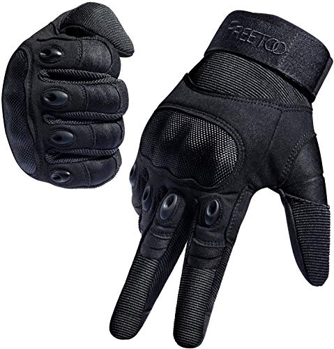 FREETOO Motorradhandschuhe Herren Sport Handschuhe Vollfinger Taktische Handschuhe mit gepolstertem Rückenseite geeignet für Motorrad Fahrrad, Paintball und andere Outdoor Aktivitäten (Vollfinger Schwarz, L)