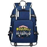 GOYING My Hero Academia Midoriya Izuku Anime Cosplay Bookbag College Bag Mochila Mochila Escolar con Puerto de Carga USB-D