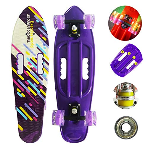 Runyi 27 inch Complete Plastic Mini Cruiser Retro Skateboard with Handle Colorful LED Light PU...