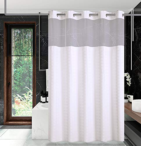 Conbo Mio Hook Free Shower Curtain with Snap in Liner for Bathroom Waterproof Rust Proof with Flex on Rings (White B,71'X74')