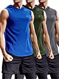 Neleus 3 Pack Workout Athletic Gym Muscle Tank Top with Hoods,5036,Olive Green,Grey,Blue,US 2XL,EU 3XL
