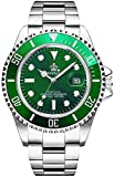 Mens Luxury Watches Ceramic Bezel Luminous Quartz Silver Gold Two Tone Stainless Steel Watch Waterproof (A- Silver Green)