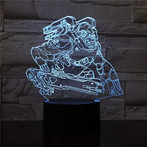 Lampada da tavolo a LED 3D Regalo per bambini Luce notturna Gioco Overwatch Hero Gorilla WINSTON...