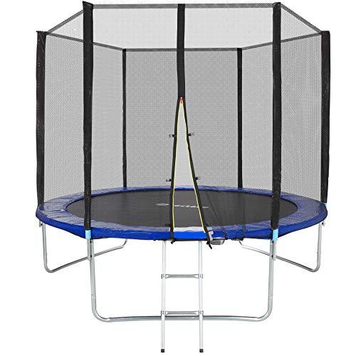 TecTake Trampoline de Jardin Extérieur Échelle Filet de Sécurité Set Enfants Adultes TÜV Rheinland GS Certification - Diverses Tailles (Ø 305 cm)