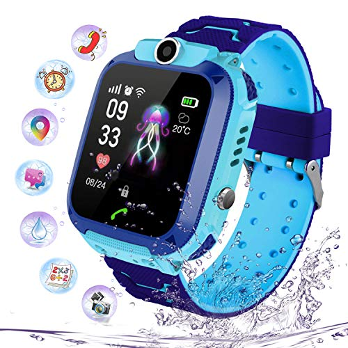 PTHTECHUS Kinder Intelligente Uhr Wasserdicht, Smartwatch LBS Tracker mit Kinder SOS Handy Touchscreen Spiel Kamera Voice Chat Wecker für Jungen Mädchen Student Geschenk