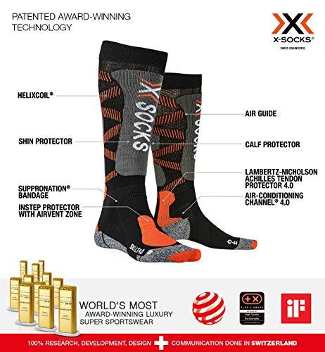 X-Socks Light 4.0, Calze Invernali da Sci Unisex Adulto, Black/X-Orange, S