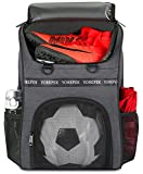 YOREPEK Soccer Bag, Soccer Backpack with Ball Compartment for Youth Boys and Girls Fit Basketball Volleyball, Large Capacity Sports Equipment Bags to School Gym Outdoor Camping, Black
