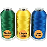 New brothreads -32 Options-Various Assorted Color Packs of Polyester Embroidery Machine Thread Huge Spool 5000M for All Embroidery Machines - Basic Colors 2