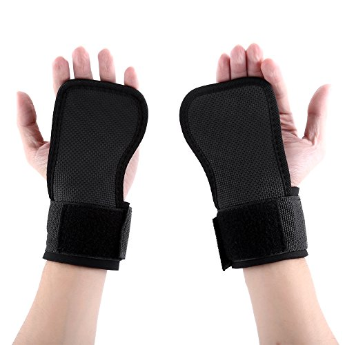 1 Pair Premium Anti Skid Weightlifting Wristbands, Fitness Wraps Lifting Half Finger Gym Gloves Black