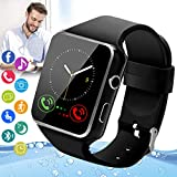 Peakfun Smart Watch,Android Smartwatch Touch Screen Bluetooth Smart Watch for Android Phones Wrist Phone Watch with SIM Card Slot & Camera,Waterproof Fitness Tracker Watch for Men Women Kids Black