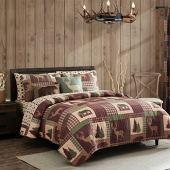 Full/Queen Quilt 3 Piece Set Rustic Cabin Lodge Deer and Bear Coverlet Bedspread