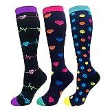 Compression Socks Women 20-30mmHg (3 Pairs) Mens Best Stockings for Running Medical Athletic Edema Diabetic Varicose Veins Travel Pregnancy Shin Splints(Assorted 1, Small/Medium)