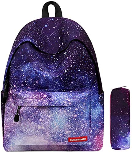 Global i Mall - Zaino scuola unisex modello Galassia, in tela, in grado di contenere libri, laptop,...