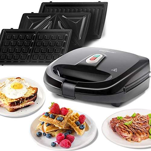 Aigostar Sandwichmaker 3 in 1,Sandwichtoaster,Tisch-Grill,Waffeleisen 3 in1,3 abnehmbare Grillplatten| American Toast, Waffeln, Fleisch | Antihaftbeschichtet | Schwarz