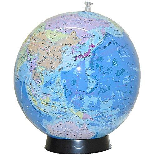 置き場所に困らない 日本語表記のビーチボール地球儀 球径30cm 台座&世界の国旗ポスター付