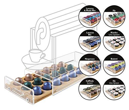 MACOM Just Kitchen 836 Mini Space Coffee Dispenser Portacapsule Universale per Macchine caffè, 18 Capsule, cassetto in Legno